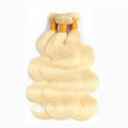 613 Blonde Body Wave Human Hair 2 Bundle with Hand Tied Lace Closure Colored Human Hair 4*4 9A