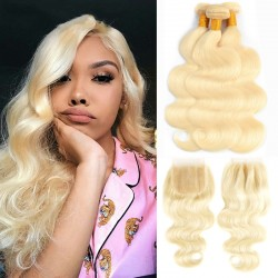 3 Bundle Deals with Closure 4*4 613 Blonde Color Body Wave Virgin Human Hair 9A
