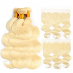 613 Blonde Color Body Wave Hair Bundle with Lace Frontal Closure 13*4  3 Bundle with Frontal Deals 9A