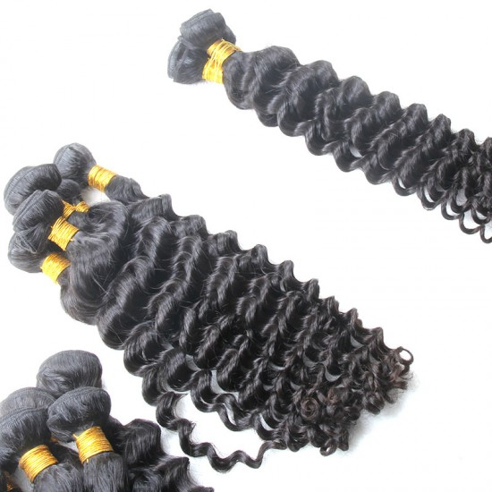 2 Bundle Deal Brazilian Deep Wave Human Hair 200g Natural Brownish Luster Durable Quality Hair Weaving