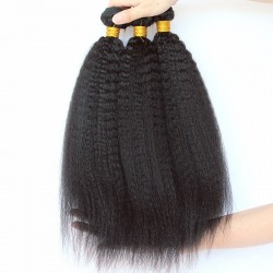 4PCS Brazilian Kinky Straight Human Hair Weft RAW Human Hair Material and Hair Manufacturer Directly Wholesale Human Hair