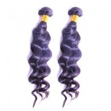 100% Real Human Hair Brazilian Loose Wave Human Hair 10A BEST Raw Natural Black Color 2PCS