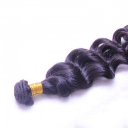Original 9A Machine Double Weft Natural Black Color 1PC Brazilian Loose Deep Wave Original Raw Human Hair Bundle