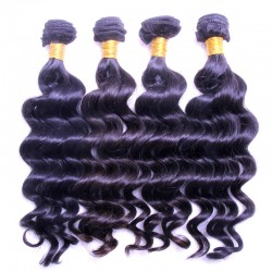 Queen's Slay Brazilian Loose Deep Wave Natural Black Color Bundle Deal 4PCS a lot RAW Hair 9A