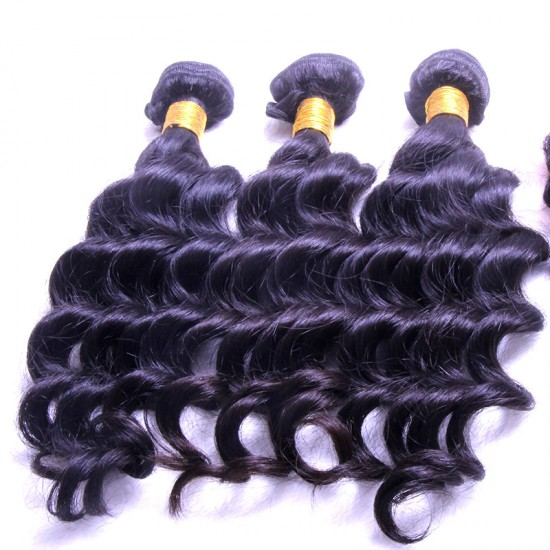 100% Real Human Hair Brazilian Loose Deep Wave Human Hair 9A BEST Raw Natural Black Color 2PCS
