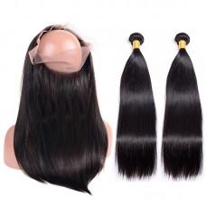 2Pieces Bundle with 360 Closure Thick Bundles Grade 10A Salon RAW hair Supplier Wholesale Hair Bundle with Frontal Virgin Brazilian Straight Human Hair