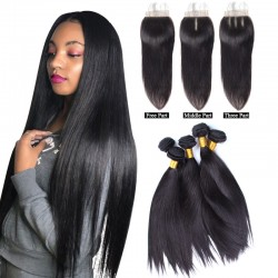 4Pcs Bundles with Closure 4X4 Brazilian Virgin Human Hair Unprocessed Straight Hair Machine Wefted Double Wefts 4 Bundles Deal with top closure