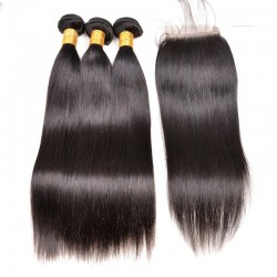 2 or 3Pcs/Lot Natural Color Human Hair Brazilian Straight Hair Weft with 4X4 Lace Closure natural color Hair Bundles Deal