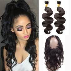 2Pieces Hair Bundle with 360 Band Lace Frontal Closure Grade 10A Unprocessed Brazilian Body Wave Wave Virgin Hair Affordable price