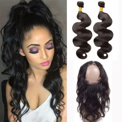 2Pieces Hair Bundle with 360 Band Lace Frontal Closure Grade 9A Unprocessed Brazilian Body Wave Wave Virgin Hair Affordable price