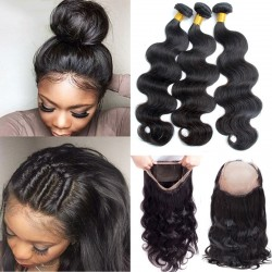 "3 Bundles with 360 Frontal Closure Pre-Plucked SivollaHair Raw Hair No Acid Bath Brazilian Body Wave 8""-30"" 360 Band Lace Frontal Wig"