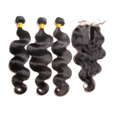2/3Pcs/Lot Bundle Deals with Closure 4*4 100% Unprocessed virgin full cuticles aligned Brazilian hair Body Wave Natural Hair Best Hair