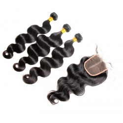 2/3Pcs/Lot Bundle Deals with Closure 4*4 100% Unprocessed virgin full cuticles aligned Brazilian hair Body Wave Natural Hair Best Hair