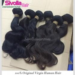"10Pcs a Lot Burmese Unprocessed Virgin Human Hair 8""-30"" Body Wave wefts Cuticles Aligned Natural Black Color"