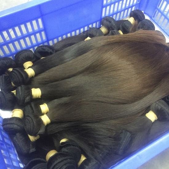 4 Pcs a lot Wholesale Price Silky Straight Natural Brownish end Human Burmese Hair 400gram for full head