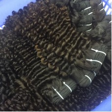 4 pcs/lot Wholesale Natural Brown&Black Color Virgin Burmese Deep curly hair machine weft[double stitched]best RAW hair vendor