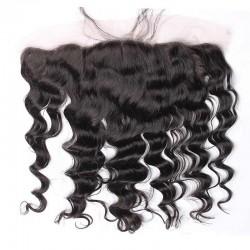 Loose Wave Natural Color Brazilian Mongolian Cambodian etc Hair Origin Lace Frontal Closure 13x4