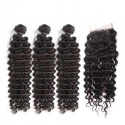 3 Pcs A Lot Bundle Deals with Lace Closure Deep Wave Virgin Human Hair Top Lace Closure 4*4 Brazilian Indian Malaysian Peruvian Cambodian 8A