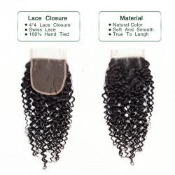 3 Bundles Deal with Closure Natural Black Jerry Curly Virgin Human Hair Lace Closure 4*4 Brazilian Indian Malaysian Peruvian Cambodian 8A
