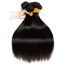 """4 Pcs Jet Black Peruvian Silky Straight Human Hair Soft Silky Natural Color Texture Can be Dyed Hair 8""""-30"""" Fast shipping Vanitybox Hair"""