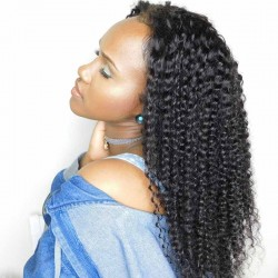 Kinky Curly 13*4 Lace Front Wigs with Baby Hair Pre-Plucked Natural Hair Line 150% Density wigs