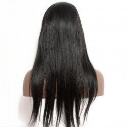 Lace Front Wig Indian Human Hair Wigs Pre-Plucked Natural Hair Line 150% Density Wigs Silk Straight Ponytail
