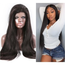 Sivolla Hair Free Shipping Lace Frontal Wig Straight Natural Original High Density 180% Lace Wig Pre-Pucked Affordable Raw Human Hair Wig with Baby Hair front