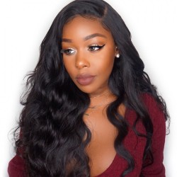 Free Shipping Lace Frontal Wig Medium Cap Size Light Brown Color of Lace 180 Density Body Wave Lace Front Wigs with Baby Hair Lace Wigs