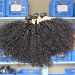 10Pcs a Wholesale Black Color BOOM Bundkes Hair Texture Afro Kinky Curly Human Hair Mongolian,Brazilian,Cambodian,Vietnamese Hair Weaving
