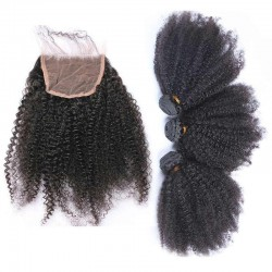 3 Bundle with Closure 4*4 Virgin Human Hair Afro Kinky Curly Hair Natural Hair with Lace Closure Kinky Curls 9A