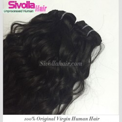 1PC One Donor Natural Black Water Wave Virgin Human Hair Weave 10A