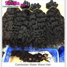 100% 10A Water Wave Human Virgin RAW Cambodian hair wavy texture 4 bundles Deal Dark Brown luster Durable Quality Hair