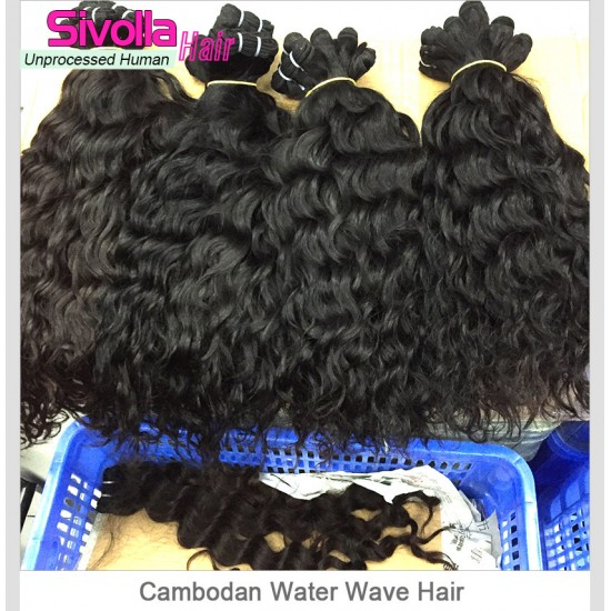 3 Bundle Water Wave Mink Human Hair Bundle Deals No Shedding and No Tangle 100% Human Hair Products