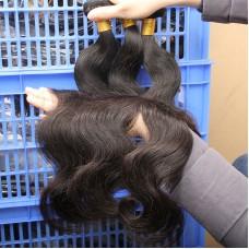 "3Pcs/Lot 10A  Body Wave Regular Hair Weave bundle deal Indian Virgin Hair Extension machine double weft 08""-30"" Temple Hair Weft"