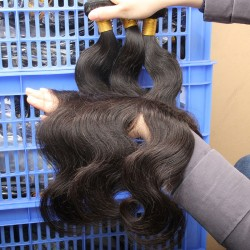 "3Pcs/Lot 9A  Body Wave Regular Hair Weave bundle deal Indian Virgin Hair Extension machine double weft 08""-30"" Temple Hair Weft"