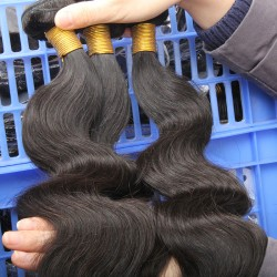 1pc a lot Original 9A Indian Virgin Human Hair Body Wave Weft bundles deal FLAWLESS NATURAL HUMAN RAW HAIR