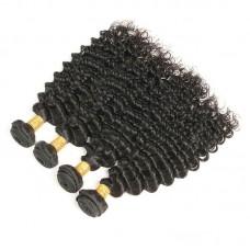 4 bundle Deals 400g African American Deep Wave Sew in Wavy Curls 10A Indian human hair weaves Gorgeous Virgin Hair Diamond Virgin Hair